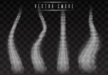 Vektor Flugzeug Kondensationsspur. Rauch isoliert auf transparentem Hintergrund Vektorgrafik