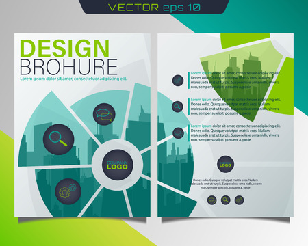 Poster flyer pamphlet copertina brochure design.Può essere utilizzato per presentazione, flyer e depliant, brochure, report aziendale, marketing, pubblicità, relazione annuale, skyline della città. Libro di copertina.