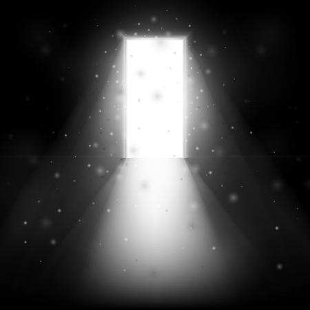 Luce che risplende attraverso la porta aperta. Doppia porta aperta. Illustrazione su sfondo nero