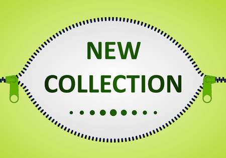New Collection.Vector icon closed and open zipper, fastener. Zipper buttoned.Poster, words, text. 일러스트
