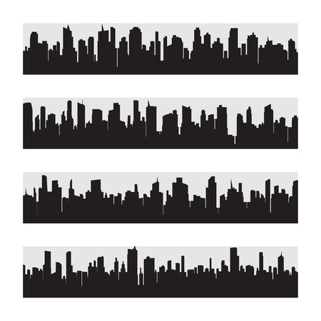 Vector black city silhouette icon set isolated.The silhouette of the city in a flat style on white backgroun. Vectores