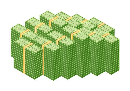 Objetos, aislado, en, un, blanco, fondo., Vario, dinero, facturas, dólar, efectivo, papel, billetes de banco, y, oro, monedas, vector, set. Dinero en efectivo montón, pila y pila de dinero ilustración.