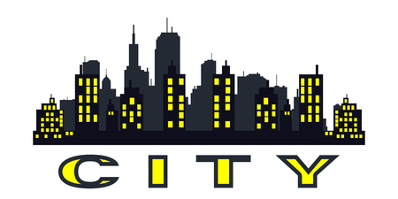 Vector black city silhouette icon set isolated.The silhouette of the city in a flat style on white backgroun. Çizim