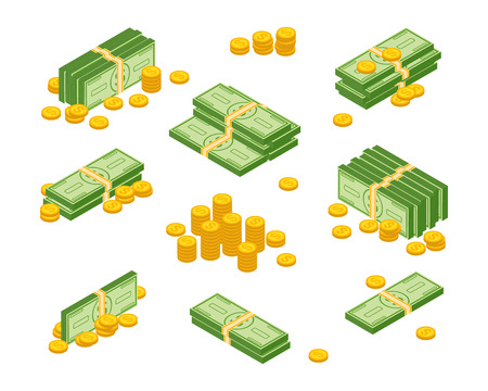 Objects isolated on a white background.Various money bills dollar cash paper bank notes and gold coins vector set. Money cash heap, pile and stack money illustration.