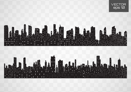 Vector black city silhouette icon set isolated.The silhouette of the city in a flat style on white backgroun. Illustration