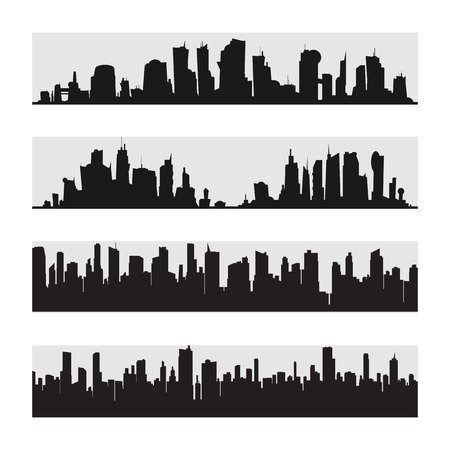 Vector black city silhouette icon set isolated.The silhouette of the city in a flat style on white backgroun. 向量圖像