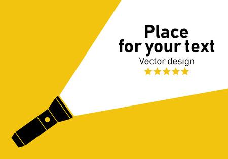 Icône de lampe de poche Illustration vectorielle de lampe de poche plate Concept de lampe de poche plate dans l'obscurité Placez votre texte. Vecteurs