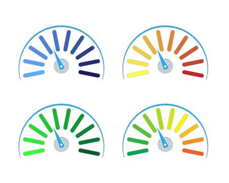 set van gekleurde meters die vermogensniveaus van laag naar hoog weergeven. Het pictogram van het meetapparaatpictogram-teken toerenteller, snelheidsmeter, indicatoren.