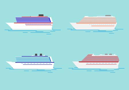 Crucero de viajes de verano. Crucero de mar aislado en azul. Ilustración de vacaciones y crucero.