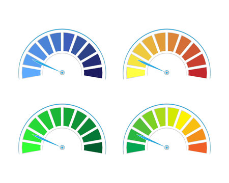 Vector set of colored gauges showing power levels from low to high.The measuring device icon- sign tachometer, speedometer, indicators. Vector illustration in flat style isolated on white background Ilustração
