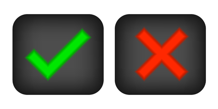 Check marks yes and no.Green checkmark OK and red X icons.Circle symbols YES and NO button for vote.