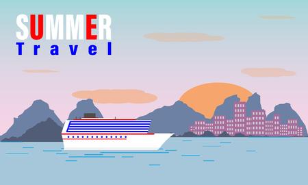 Summer travel cruise ship.sea cruise ship isolated on blue. Illustration of vacation and cruise.