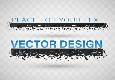 Geometric banners.Abstract explosion of black glass.Square and circle destruction shapes.3d effect of particles.