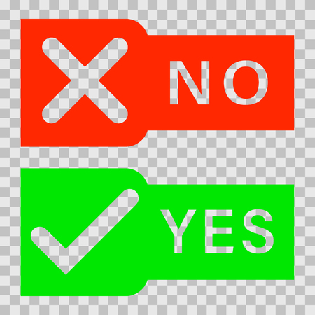 Check marks yes and no.Green checkmark OK and red X icons.Circle symbols YES and NO button for vote. illustration round icons in a flat style isolated on white background.