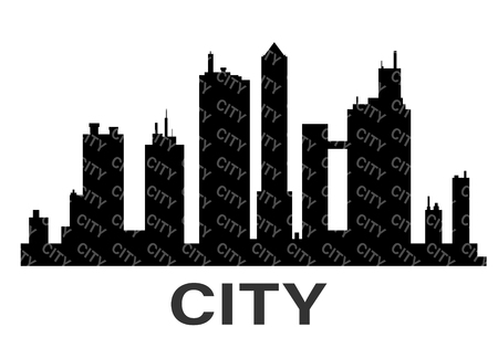Black city silhouette icon set isolated.The silhouette of the city in a flat style on white background.