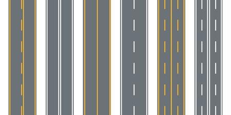 Road, street with asphalt. Highway.Direction, transportation set. Vector illustration. Illustration