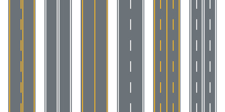 Road, street with asphalt. Highway.Direction, transportation set. Vector illustration.