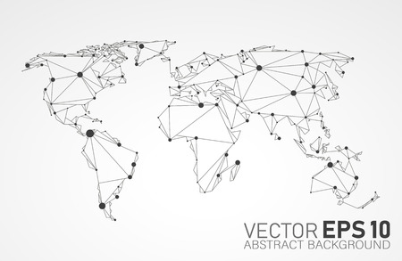 Stylized low poly World Map concept with wired construction of onnection concept.Communications network map of the world Globes business background.