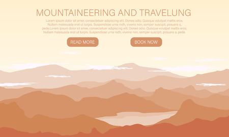 Vector landscape with silhouettes of mountains. Extreme Sports, Vacation and Outdoor Recreation Concept. Landscape with Mountain Peaks.