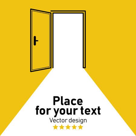 Porta aperta. Illustrazione vettoriale di cartone animato Posto per il tuo testo. Icona della torcia. Segnale di uscita di emergenza, icona di avvertimento.