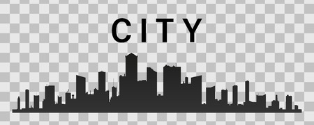 Vector black city silhouette icon set isolated.The silhouette of the city in a flat style on white backgroun.