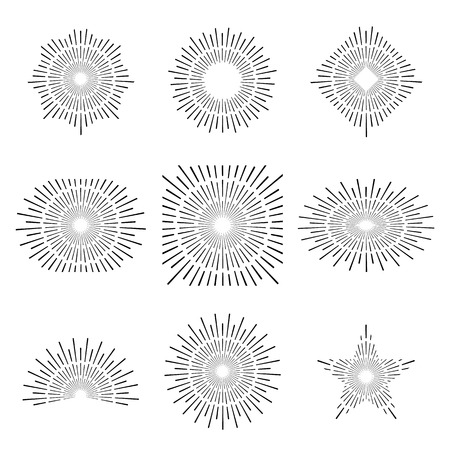 Vintage style of the image. Design elements for your projects. Hipster style. Light rays of burst. Great for retro style projects. Vector