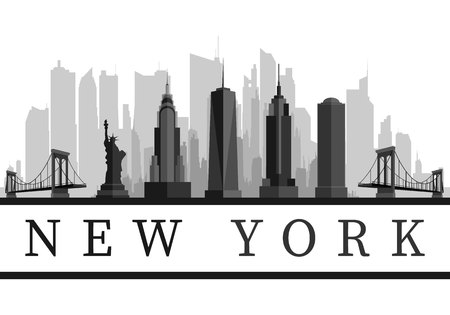 New York USA skyline and landmarks detailed silhouette, black and white design, vector illustration.