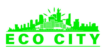 Eco city skyline. Green city on earth. Ecology concept. Save life and environment background.Vector illustration. Illustration