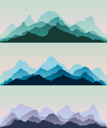Majestic mountains.The abstract vector image reforestation in the foreground and different levels of the mountains in the background.Panorama background.