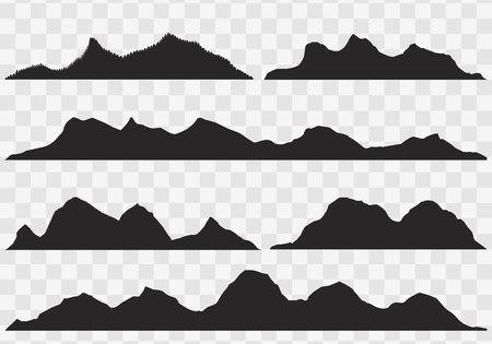 シルエット山頂と手描き風景の白い背景上の山のシルエット。