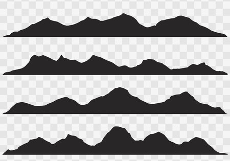 Mountains silhouettes on the white background.set of hand drawn landscape with silhouette mountain peaks.  イラスト・ベクター素材