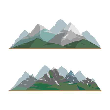 Nature mountain silhouette elements set.Outdoor icon snow ice tops and decorative isolated camping travel climbing or hiking mountains geology. Ilustração Vetorial