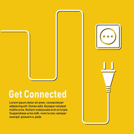 Connect idea. Concept connection, disconnection, electricity. Cable concept with plug and socket in yellow background.