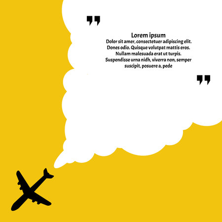 Airplane route in dotted line shape.Fast Delivery Website Background.Innovative vector quotation template in quotes against the Yellow backdrop. Çizim