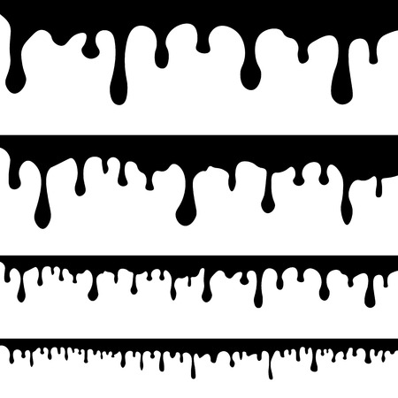 Paint drips background. Vector dripping paint. Illustrations of various dripping black paint. Ink drip and blob, drop splash, splatter stain. Abstract ink shapes for banner, sticker, badge, sale. Stock Vector - 106835215