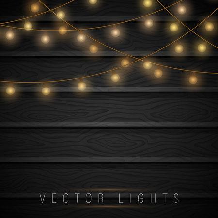 Luci di Natale su fondo in legno. Buon anno. Decorazioni natalizie festive. Elementi di design realistici isolati. Spazio per il testo. Buon anno.