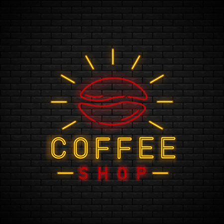 Coffee Shop Neon Light Glowing Sign Logo Vector. Cafe neon sign on brick wall. Coffee time