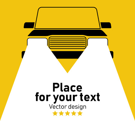 Vector silhouette of car with headlights on yellow background. Vector flat flashlight illustration. Place for your text. 向量圖像