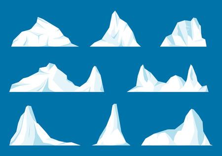 Pływający zestaw gór lodowych. Zamarznięta góra i oblodzony, frezen płynny i północny motyw. Zestaw na białym tle góry lodowej lub dryfujący lodowiec arktyczny. Projekt dla gier wideo. Arktyczny. Antarktyda. Ilustracje wektorowe