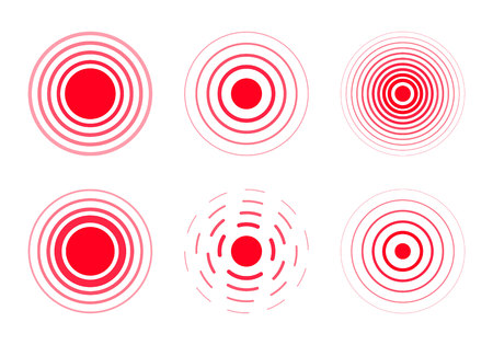 Pain circle. Set of bold and thin red ring. Pain red rings to mark. Stock Illustratie