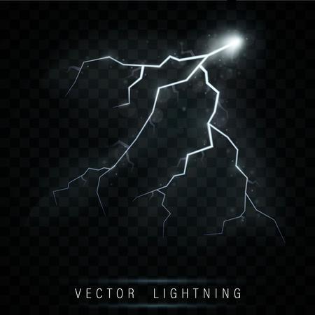 Lightning flash bolt. lightning Magic and bright light effects.  Vector realistic lightning rain weather thunderbolt on black transparent background. Neon color energy