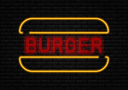 Fast Food neon sign vector. Burger cafe neon sign. Big Burger with frame. Glowing tasty big burger on dark brick wall.