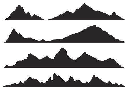 Gebirgsschattenbilder auf dem weißen Hintergrund. Breite, halbdetaillierte Panorama-Silhouetten von Hochland, Bergen und felsigen Landschaften. Isolierte Reihe von Bergen in der Vektorillustration. Vektorgrafik