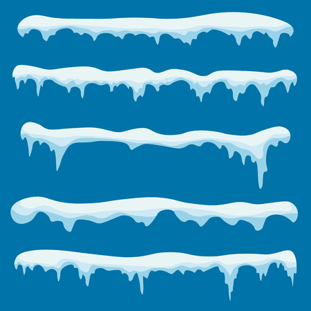 Snow ice icicle set Winter design. Winter snow caps with ice. Snowdrifts, icicles, elements winter decor. White blue snow template. Christmas.