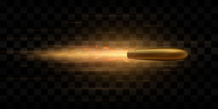 A flying bullet with a fiery trace. Isolated on a transparent background. Vector illustration. Vektorgrafik