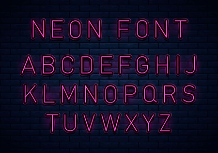Neon red font. Voltage neon light alphabet, realistic extra glowing font with brick wall background. Vector typeface for your headers or any typography design.