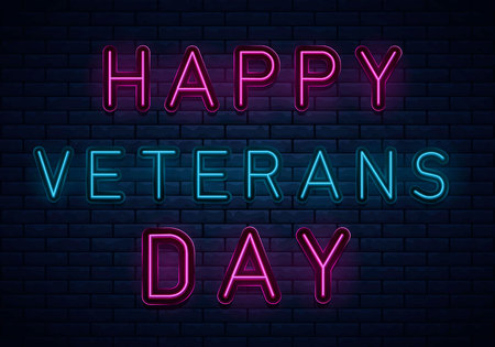 USA Veterans day background neon, greeting card in neon style, design template, light banner,nightlife signboard, design element.