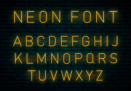Neon yellow font. Voltage neon light alphabet, realistic extra glowing font with brick wall background. Vector typeface for your headers or any typography design. Vector Illustration