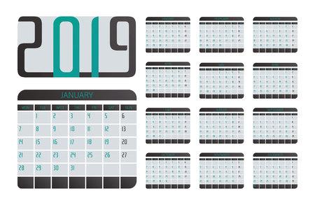 Calendar for 2019 pastel background. Set of 12 pages desk calendar. Vector design printing template. Week starts on Monday.