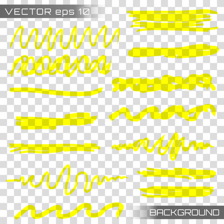 Highlight brush underline hand drawn strokes set. Creative vector illustration of stain strokes, hand drawn yellow highlight japan marker lines, brushes stripes isolated on transparent background.